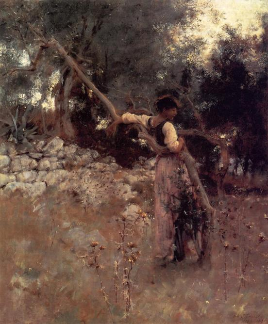 Sargent: Woman in Olive Trees
